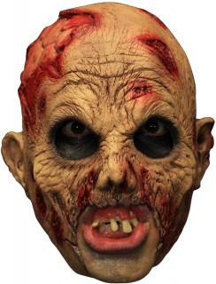 3/4 Zombiemaske mit Gebiss Untoter-Maske beige-rot