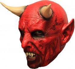 3/4 Teufelsmaske mit Gebiss und Hörnern Dämonen-Maske rot-beige