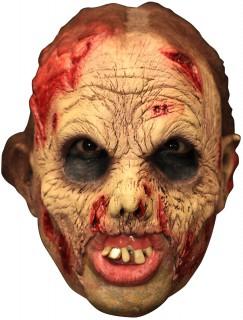Zombie Maske mit Zahnprothese Halloween Kostümaccessoire hautfarben-rot