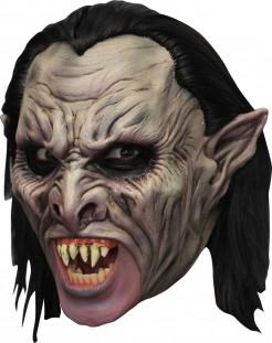 Vampir 3/4 Maske mit Gebiss und Haaren grau-schwarz