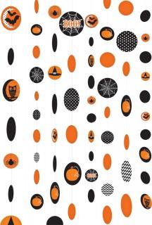 Süsse Eulen und Hexenhüte Halloween Hänge-Deko 8 Stück schwarz-orange 180x12,5cm