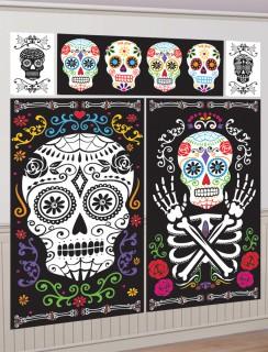 Tag der Toten Sugar Skull Halloween Wand-Dekofolien-Set bunt 5-teilig