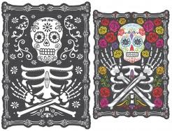 Tag der Toten Sugar Skull Hologramm Halloween Party-Deko bunt 45x30cm