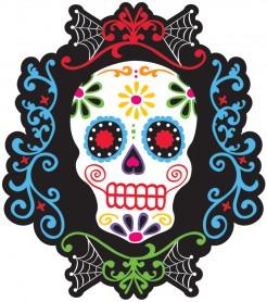 Tag der Toten Sugar Skull Pappschädel Halloween Party-Deko schwarz-bunt 26x23,5cm