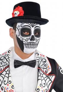 Tag der Toten Totenschädel Gesichtsmaske Vollmaske weiss-schwarz