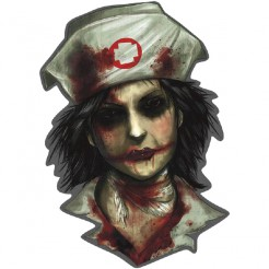 Blutiger Zombie Pappfigur Halloween Party-Deko grau-rot 26x26cm