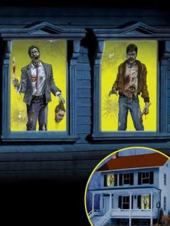 Fenster-Bilder Zombie Halloween-Deko Set 2-teilig bunt 165x85cm