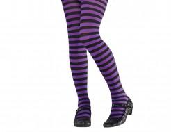 Gestreifte Strumpfhose für Kinder lila-schwarz
