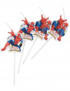 Spider-Man™ Strohhalme 6 Stück rot-weiss-blau 24 cm