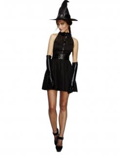 Bezaubernde Hexe Magierin Halloween Damenkostüm schwarz
