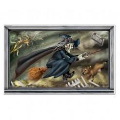 Wandbild fliegende Hexe Halloween bunt 102x163 cm
