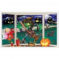 Wand-Dekoration Halloween Hexe am Fenster bunt 157 cm groß