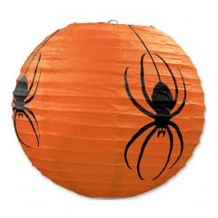 Spinnen-Laternen Halloween-Lampions 3 Stück orange-schwarz 24cm