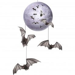 Halloween-Hängedeko Fledermaus und Mond lila-schwarz