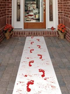 Halloween-Läuferteppich Blutige Fussabdrücke weiss-rot 61x304cm