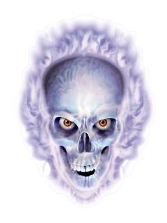 Totenschädel-Sticker Halloween-Aufkleber lila-weiss 30x43cm