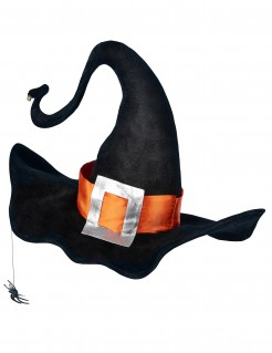 Märchenhafter Hexenhut mit Hutband und Spinne schwarz-orange-silber