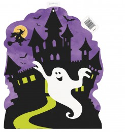 Halloween Raumdeko Spukschloss Accessoire für Kinder schwarz-lila-weiss 42cm