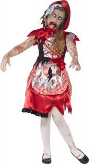 Zombie Waldmädchen Halloween Kinderkostüm Märchen rot-weiss-schwarz