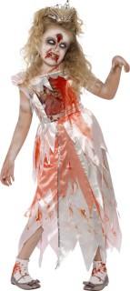 Zombie Prinzessin Halloween Kinderkostüm weiss-rot