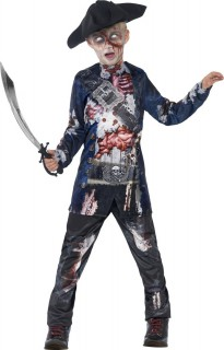 Gruseliger Zombie Pirat Halloween Kinderkostüm blau-bunt