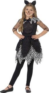 Süßes Katzenkostüm für Mädchen schwarz-weiß