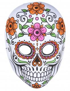 Sugar Skull Skelett Vollmaske Tag der Toten weiss-bunt
