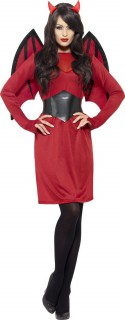 Verführerische Teufelin Halloween Damenkostüm rot-schwarz