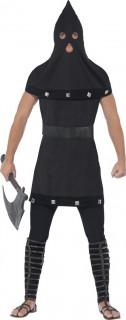 Mittelalterlicher Henker Kostüm schwarz-silber