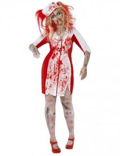 Blutige Zombie Krankenschwester Halloween Plus Size Damenkostüm rot-weiss