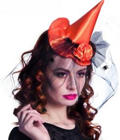 Miniatur Hexenhut für Damen Halloween-Accessoire orange-schwarz