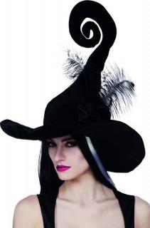 Fantasy Hexenhut mit Federn schwarz