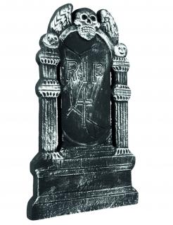 Friedhof Grabstein Geflügelter Totenschädel Halloween Party-Deko grau 50x30cm