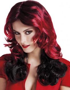 Mittellange Damen-Perücke Kostüm-Accessoire rot-schwarz