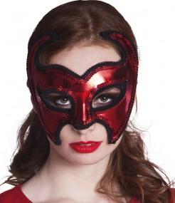 Teufel-Augenmaske Venezianische Halloween-Maske rot-schwarz