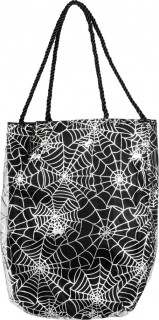 Tasche mit Spinnennetzenaufdruck Halloween Kostümzubehör schwarz-weiss25 cm x 17 cm