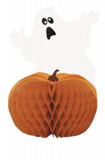 Halloween-Tischdekoration Kürbis und Geist 28 cm orange weiss