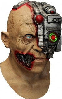 Animierte Cyborg-Maske Science-Fiction-Maske hautfarben-grau-rot