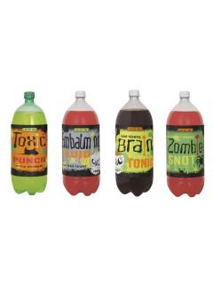 Flaschenetiketten Halloween Etiketten 4 Stück bunt