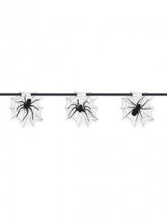 Spinnennetz Girlande - Halloween weiss-schwarz 2.13m lang