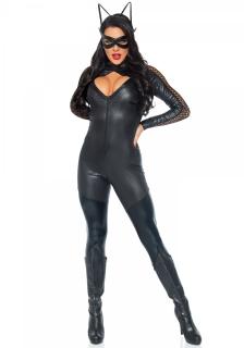 Sexy Katzenkostüm für Damen Halloweenkostüm schwarz