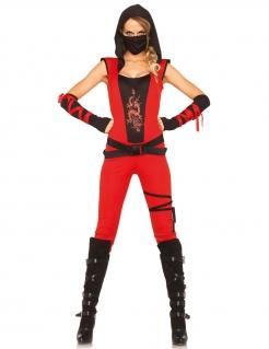 Ninja-Kämpferin Damenkostüm mit Drachen-Motiv rot-schwarz