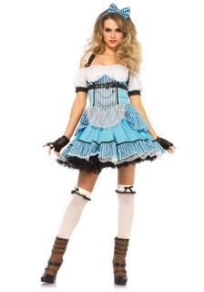 Traumhaftes Märchenland-Kostüm für Damen blau-weiss-schwarz