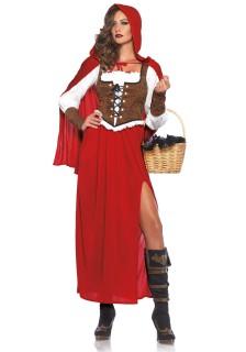 Rotkäppchen Märchen Damenkostüm rot-weiss-braun