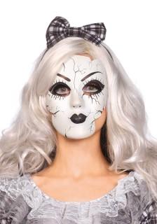 Zerbrochende Puppenmaske Ragdoll-Maske weiss-schwarz
