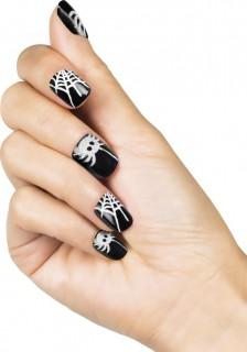 Schaurige Halloween Nagelsticker Spinne schwarz-weiss