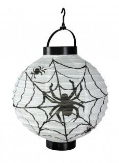 Grosse Halloween Deko Laterne Spinnennetz weiss-schwarz
