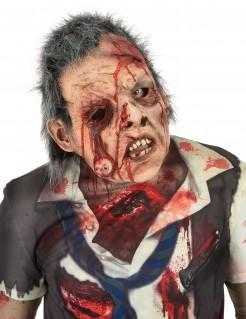 Furchterregender Zombie Deluxe Halloweenmaske beige-rot-grau