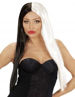 Schwarz-weiße Langhaar-Perücke für Damen s-w
