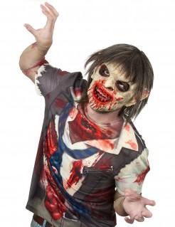 Einäugiger Zombie Deluxe Halloween-Maske grün-rot-grau